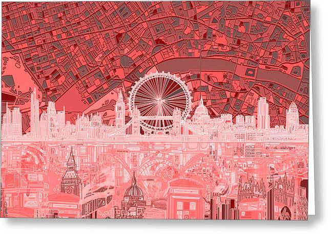 London Skyline Abstract Red Greeting Card