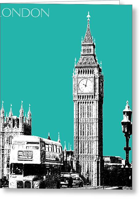 London Skyline Big Ben - Teal Greeting Card by DB Artist