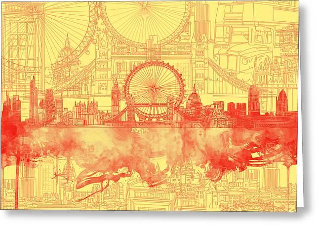 London Skyline Old Vintage 3 Greeting Card by Bekim Art
