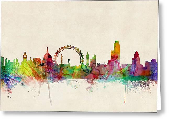 London Skyline Panoramic Greeting Card by Michael Tompsett