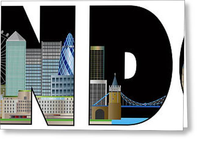 London Skyline Text Outline Color Illustration Greeting Card