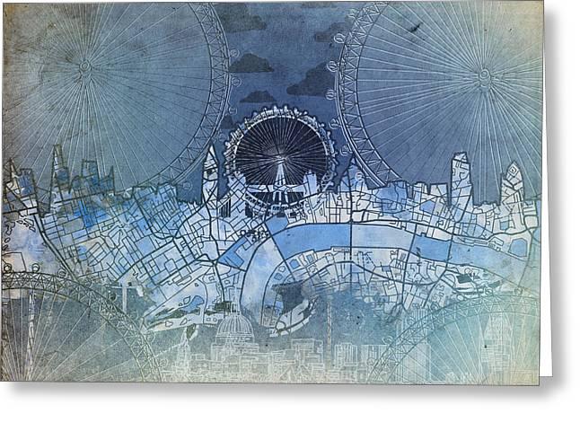 London Skyline Vintage Blue Greeting Card by Bekim Art