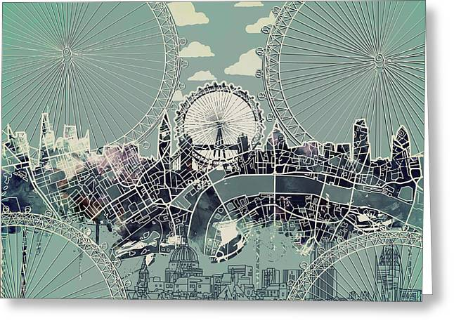 London Skyline Vintage Greeting Card