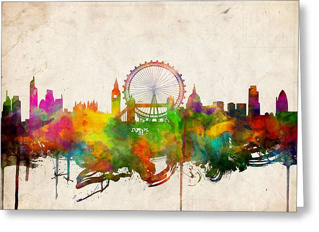 London Skyline Watercolor 2 Greeting Card