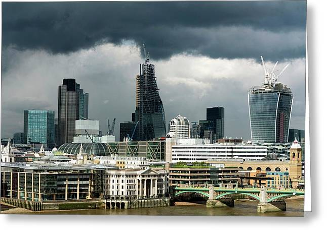 London Skyscraper Construction Greeting Card by Daniel Sambraus