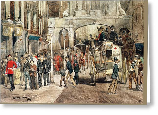 London Street, 1869  Greeting Card by Jean-Baptiste Edouard Detaille