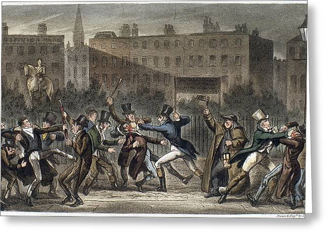London Street Brawl, 1821 Greeting Card by Granger