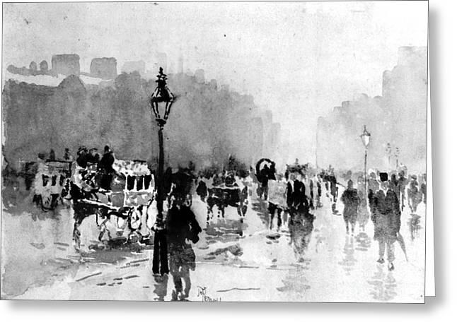 London Street Scene 1885 Greeting Card