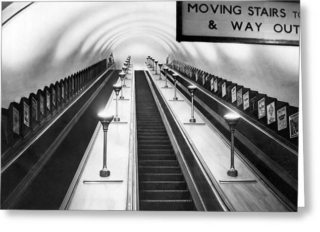 London Subway Escalators Greeting Card
