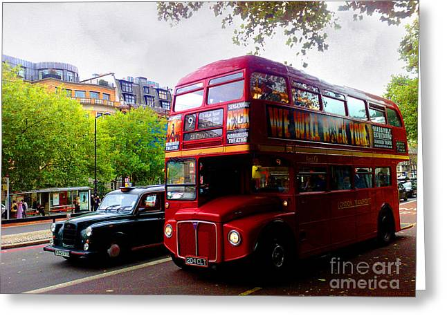 London Taxi And Bus Greeting Card by Hanza Turgul