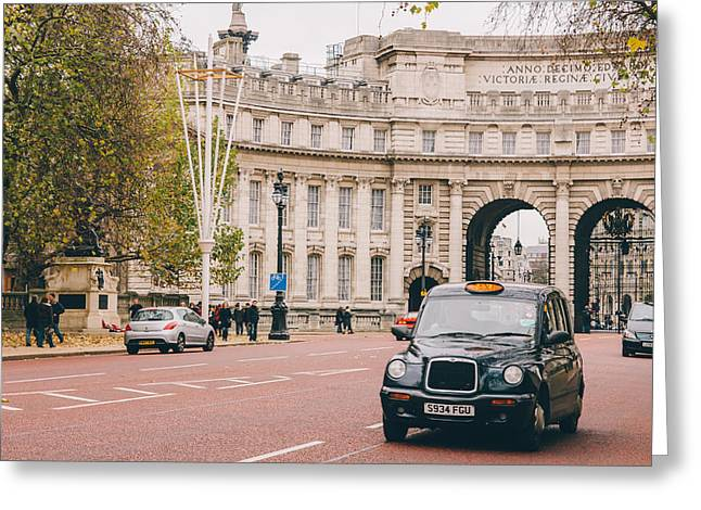 London Taxi Greeting Card by Pati Photography