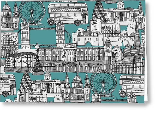 London Toile Blue Greeting Card by Sharon Turner