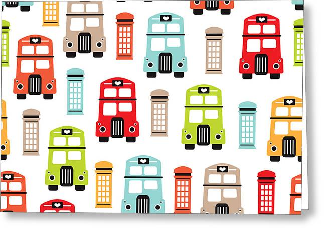 London Uk Double Decker Icon Of The Road Greeting Card