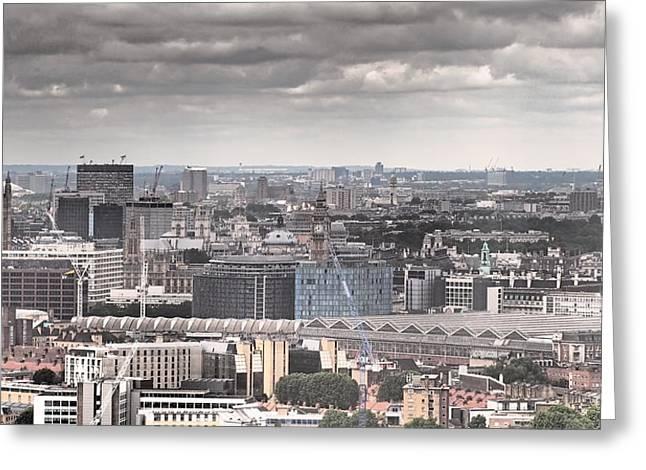London Under Grey Skies Greeting Card by Rona Black
