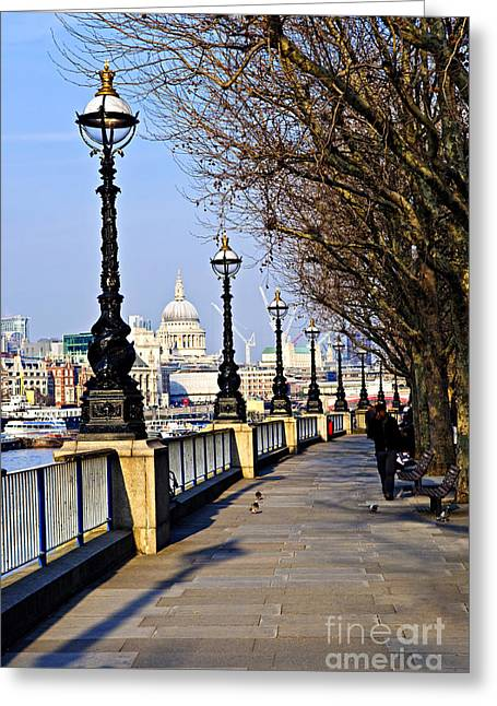 Barge Greeting Cards - London view from South Bank Greeting Card by Elena Elisseeva