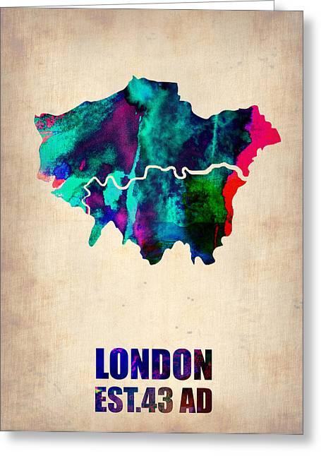 London Watercolor Map 2 Greeting Card by Naxart Studio