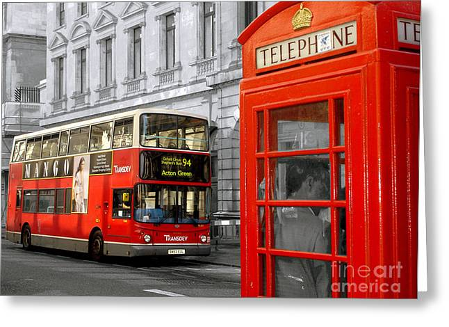 London With A Touch Of Colour Greeting Card by Nina Ficur Feenan