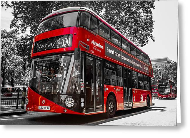 London's Double Decker Bus Greeting Card by Yuri Fineart