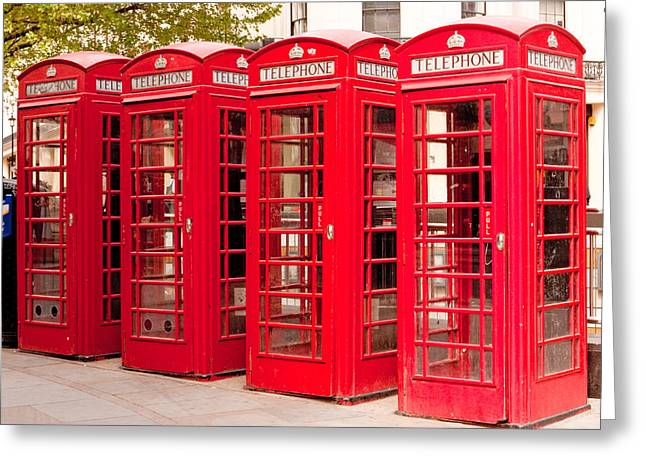 London's Red Phone Boxes Greeting Card