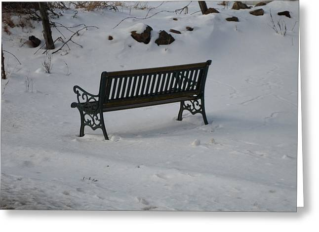 Lone Bench Greeting Card