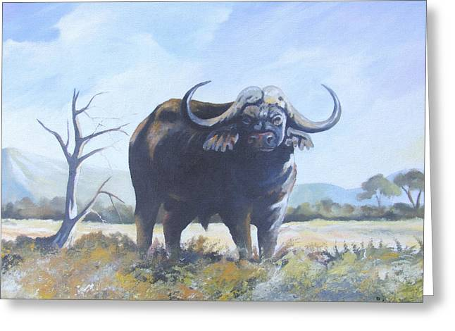 Greeting Card featuring the painting Lone Bull by Anthony Mwangi