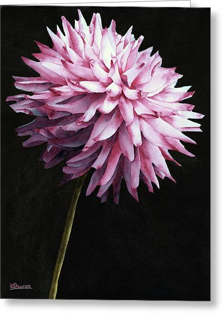 Greeting Card featuring the painting Lone Dahlia by Ken Powers