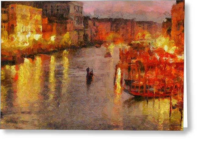 Greeting Card featuring the painting Lone Gondolier At Night by Kai Saarto