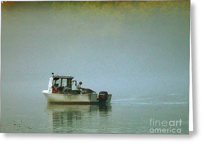 Lone Lobsterman Greeting Card by Christopher Mace