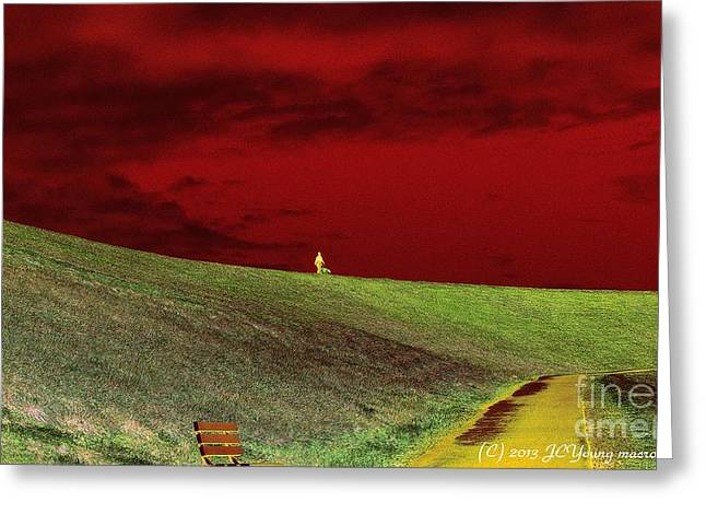 Lone Man And His Best Friend Greeting Card by JCYoung MacroXscape