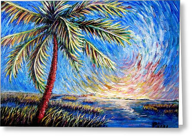 Lone Palm Greeting Card by Sebastian Pierre