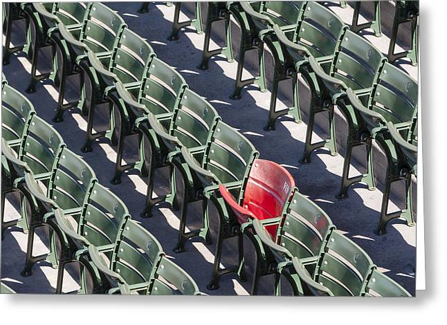 Lone Red Number 21 Fenway Park Greeting Card