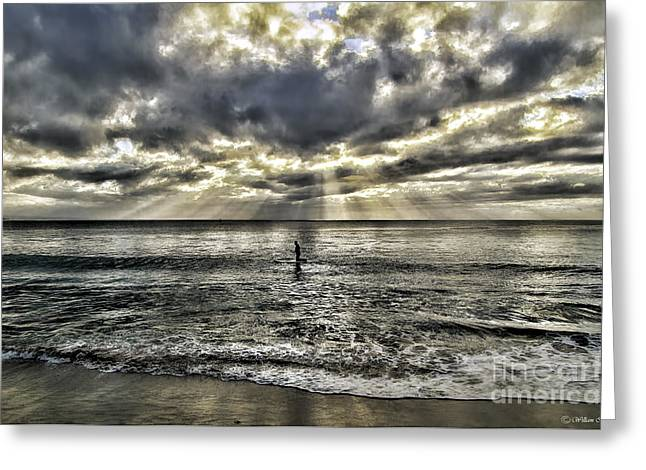 Lone Surfer Greeting Card by Bill Baer