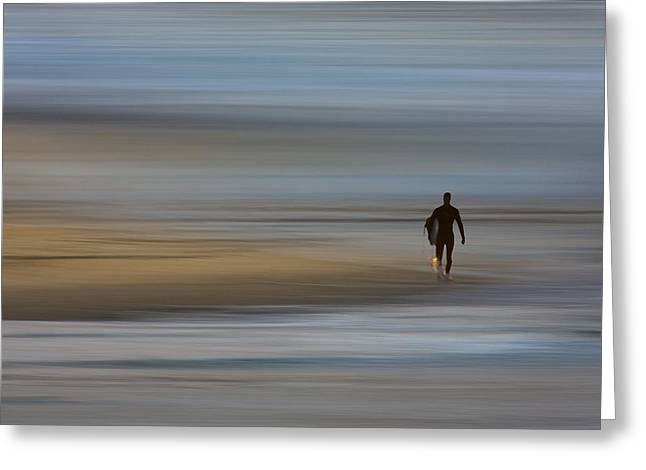 Greeting Card featuring the photograph Lone Surfing Walking A Surreal Shoreline by David Orias