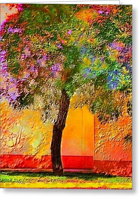 Lone Tree Against Orange Wall - Vertical Greeting Card