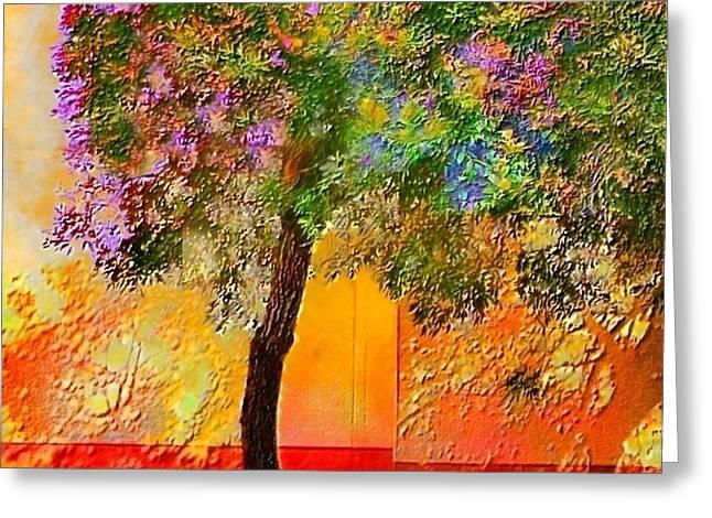 Lone Tree Orange Wall - Square Greeting Card