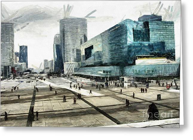 Loneliness And Business In Paris Greeting Card by Daliana Pacuraru