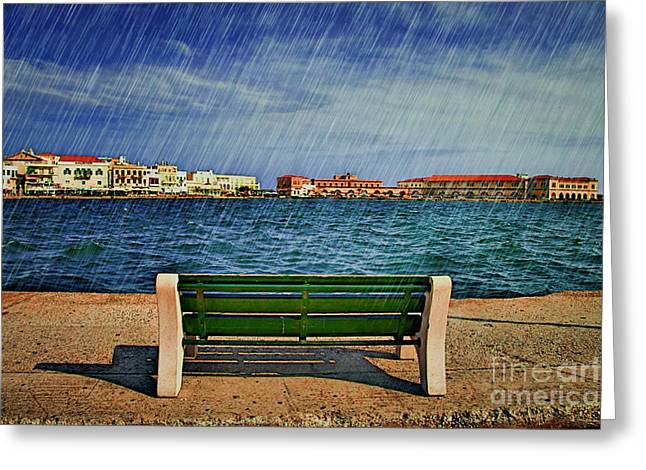 Lonely Bench In Rain Greeting Card