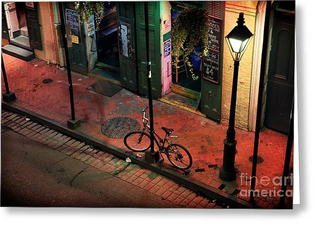 Lonely Bike On Bourbon Greeting Card by John Rizzuto