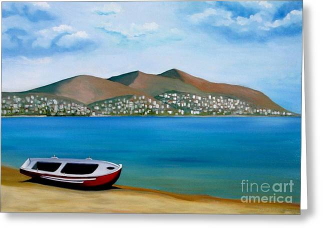 Lonely Boat Greeting Card by Kostas Koutsoukanidis