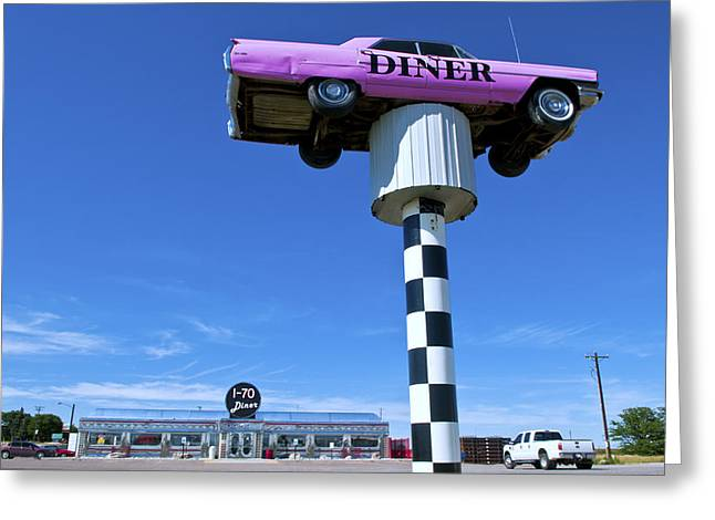 Lonely Diner With Pink Cadillac Greeting Card