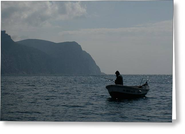 Lonely Fisherman Greeting Card by Jon Emery