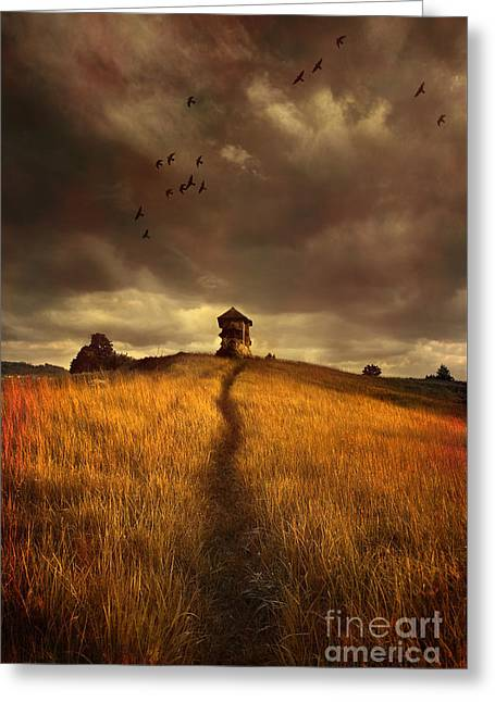 Lonely House On The Hill Greeting Card