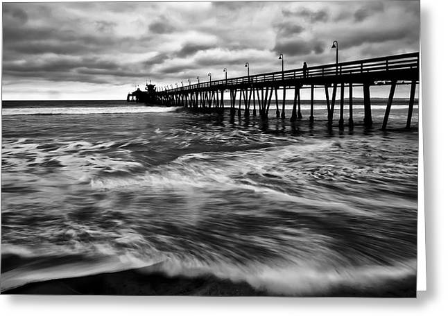 Greeting Card featuring the photograph Lonely Man On The Pier by Ryan Weddle