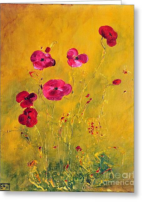 Lonely Poppies Greeting Card by Teresa Wegrzyn
