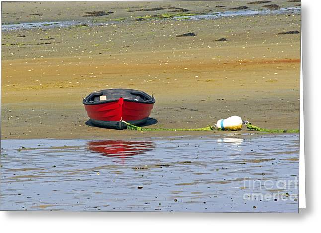 Lonely Red Boat Greeting Card