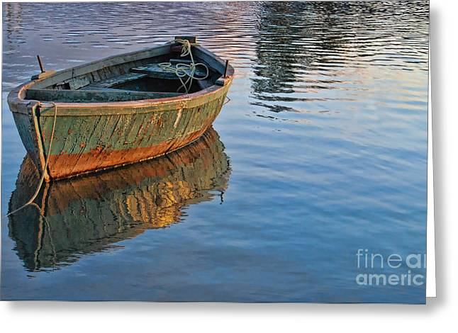 Lonely River Boat  Greeting Card