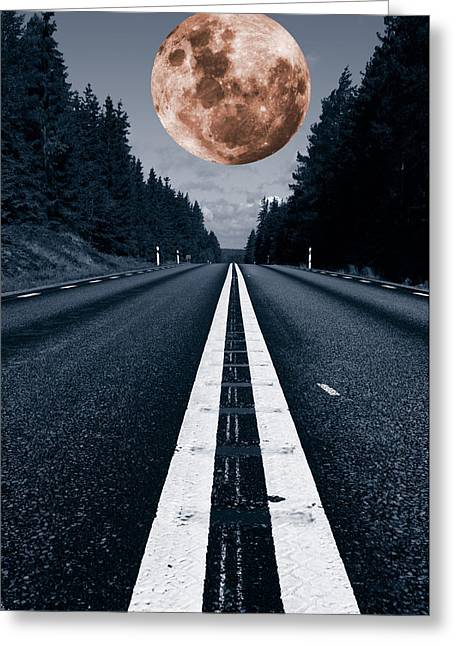 Lonely Road And Full Moon Greeting Card