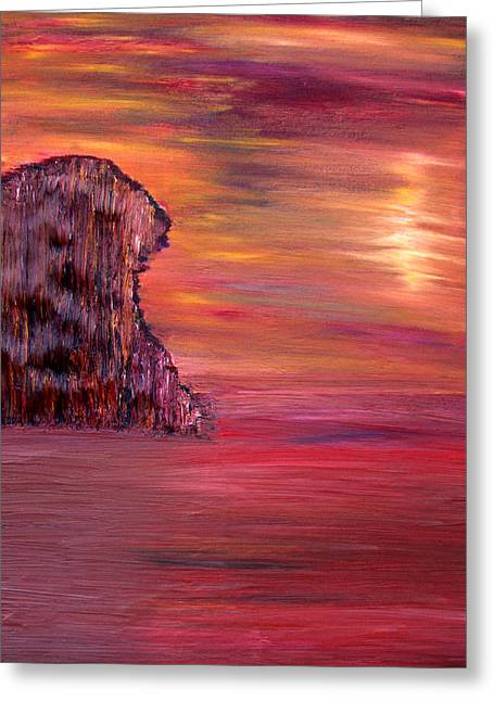 Greeting Card featuring the painting Lonely Rock by Vadim Levin