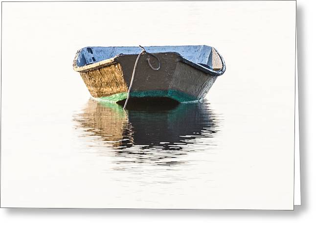Lonely Row Boat Square Version Greeting Card by Bill Swindaman