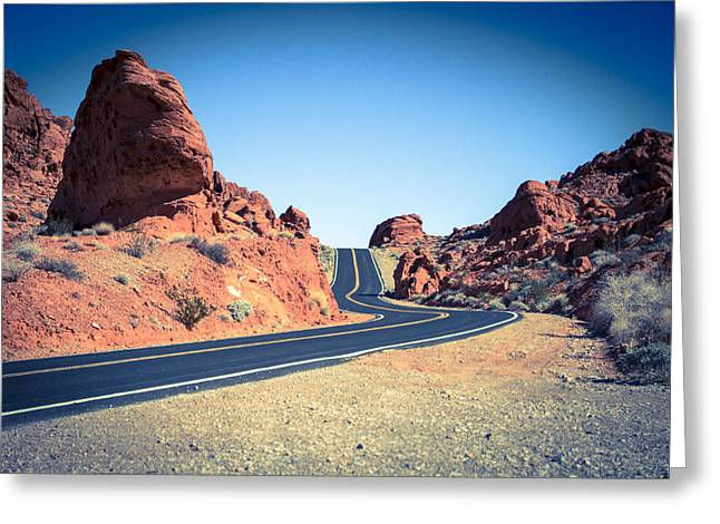 Lonely Southwestern Road Greeting Card by Laura Palmer
